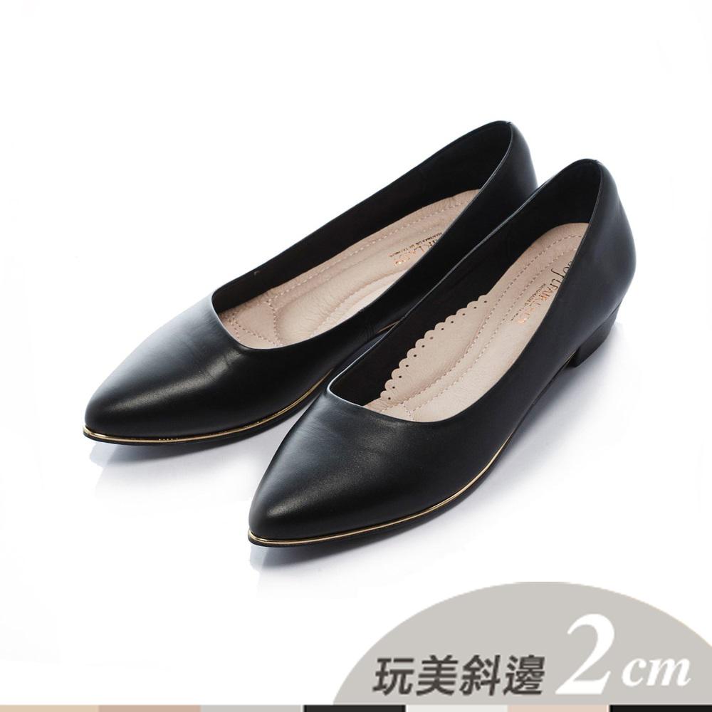 Fair Lady 七日色階 玩美斜邊2cm 低跟鞋 黑(601322)