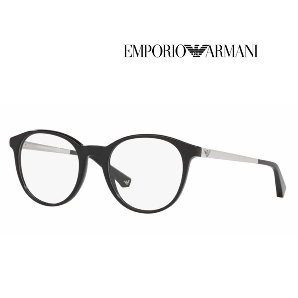 EMPORIO ARMANI 亞曼尼 亞洲版光學眼鏡 鎂鋁金屬彈簧設計鏡臂 EA3154F 5017 黑圓框