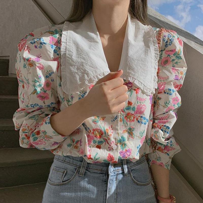 韓國chic長袖襯衫女 氣質款復古減齡俏皮甜美水彩花色洋氣拼色娃娃領單排扣寬鬆長袖襯衣上衣
