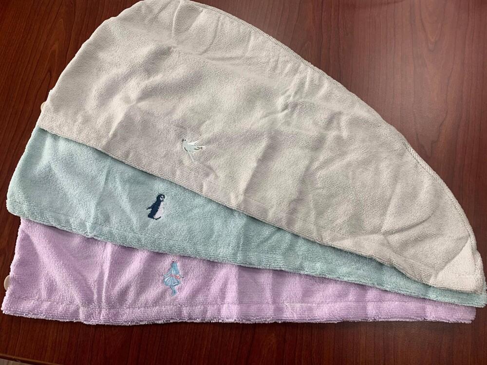 日本品牌3coins珊瑚絨刺繡吸水速乾髮帽 擦頭巾 包髮巾