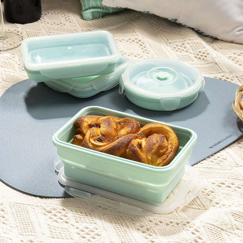 輕巧摺疊餐盒700ml-薄荷綠