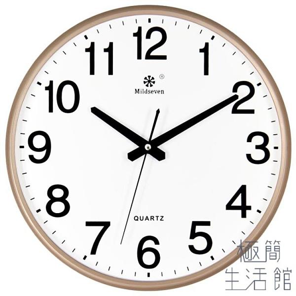鐘表掛鐘個性時鐘掛表簡約家用靜音電子石英鐘掛墻上【極簡生活】
