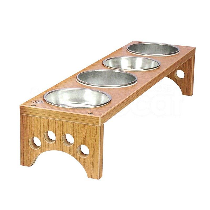 四口小型犬貓餐桌 黃金柚木色 碗架附鐵碗