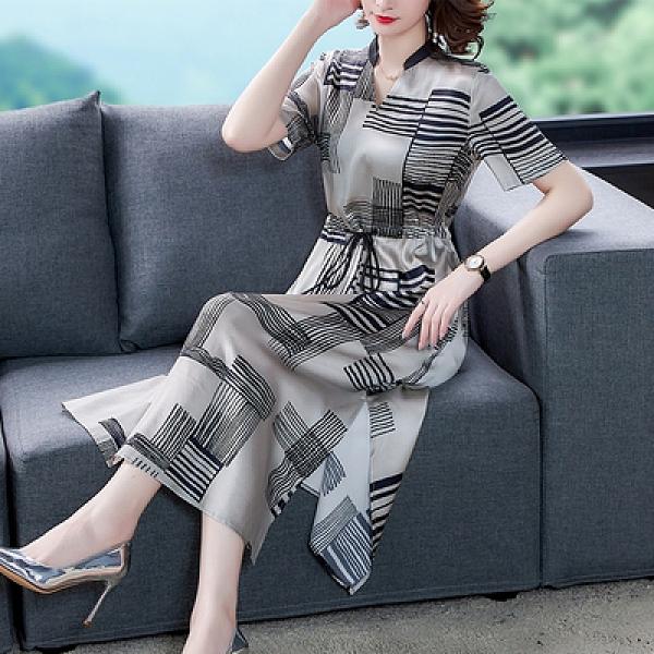 M-4XL洋裝醋酸緞面真絲連身裙女時尚氣質杭州桑蠶絲裙子歐貨長裙N2F-A12-E胖妹大碼女裝