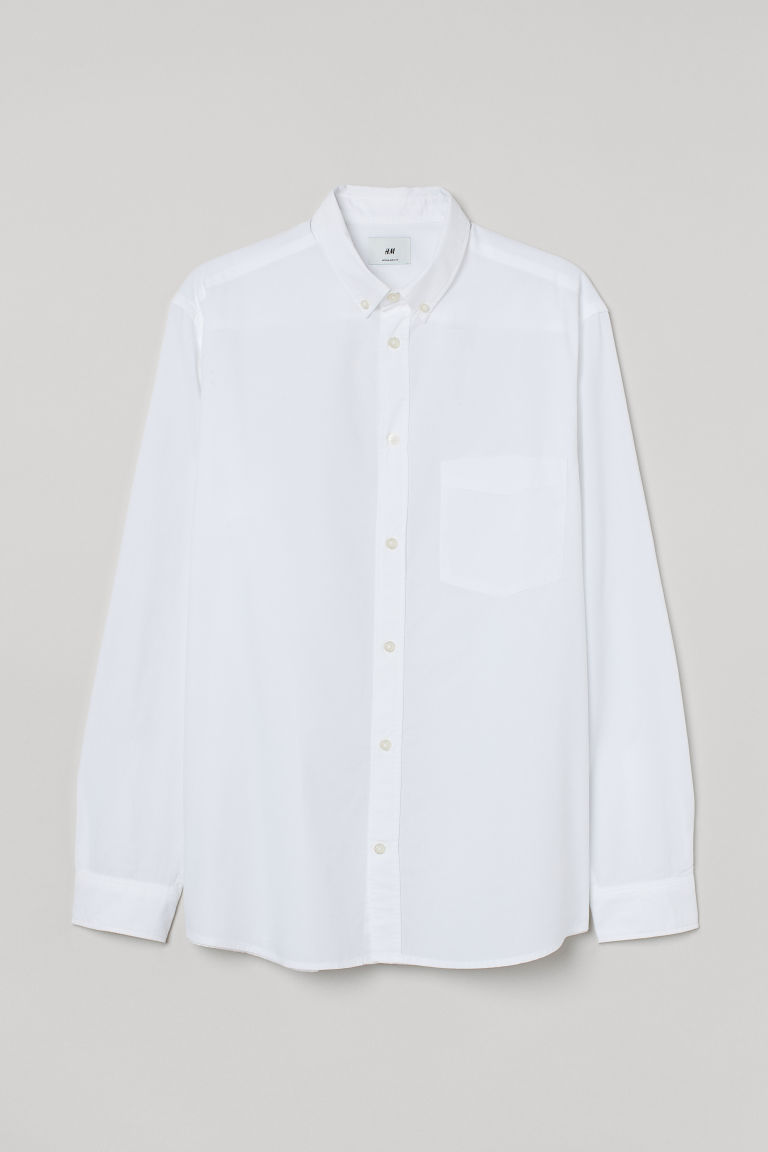 H & M - 標準剪裁棉質襯衫 - 白色