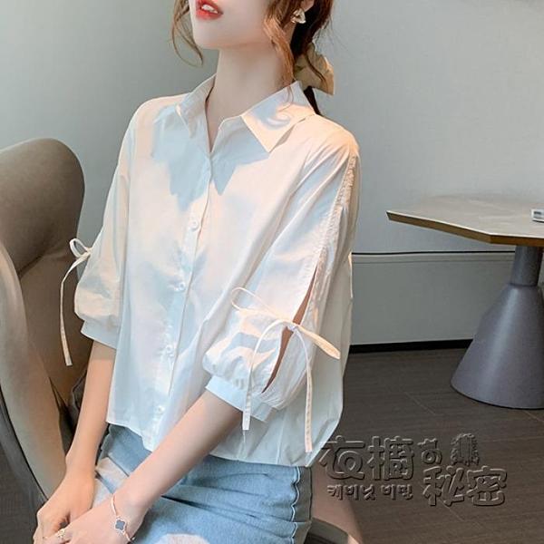 短袖衫 春款白色短袖雪紡襯衫女裝年新款夏季中袖上衣七分袖打底襯衣 衣櫥秘密