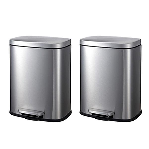 特力屋時尚長方形不鏽鋼緩降垃圾桶12L 2入組