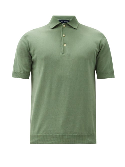Thom Sweeney - Spread-collar Cotton Polo Shirt - Mens - Light Green