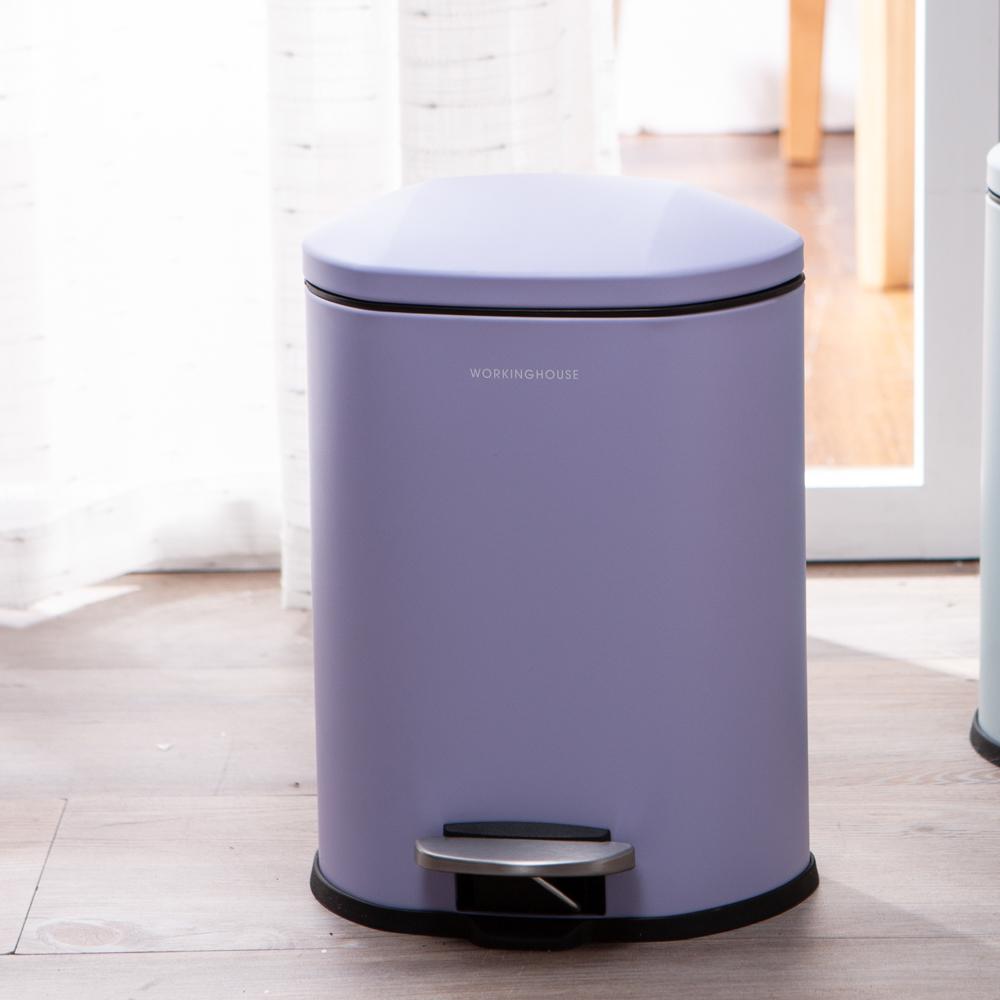 神秘紫緩降踏式垃圾桶5L