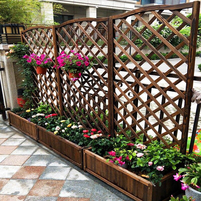 花箱 戶外庭院防腐木花箱柵欄花盆碳化木網格圍欄護欄陽臺花架隔斷花槽