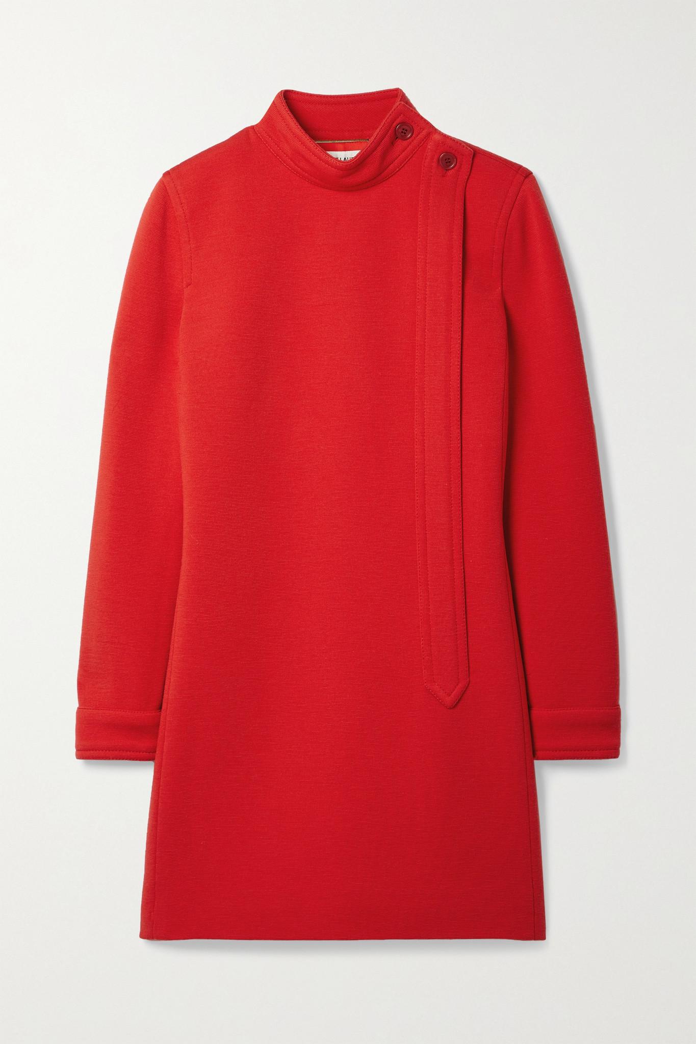 SAINT LAURENT - Wool-blend Mini Dress - Red - FR36