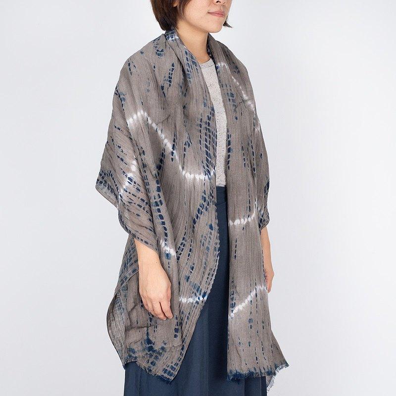 Shibori 紮染麻圍巾 - 常春藤