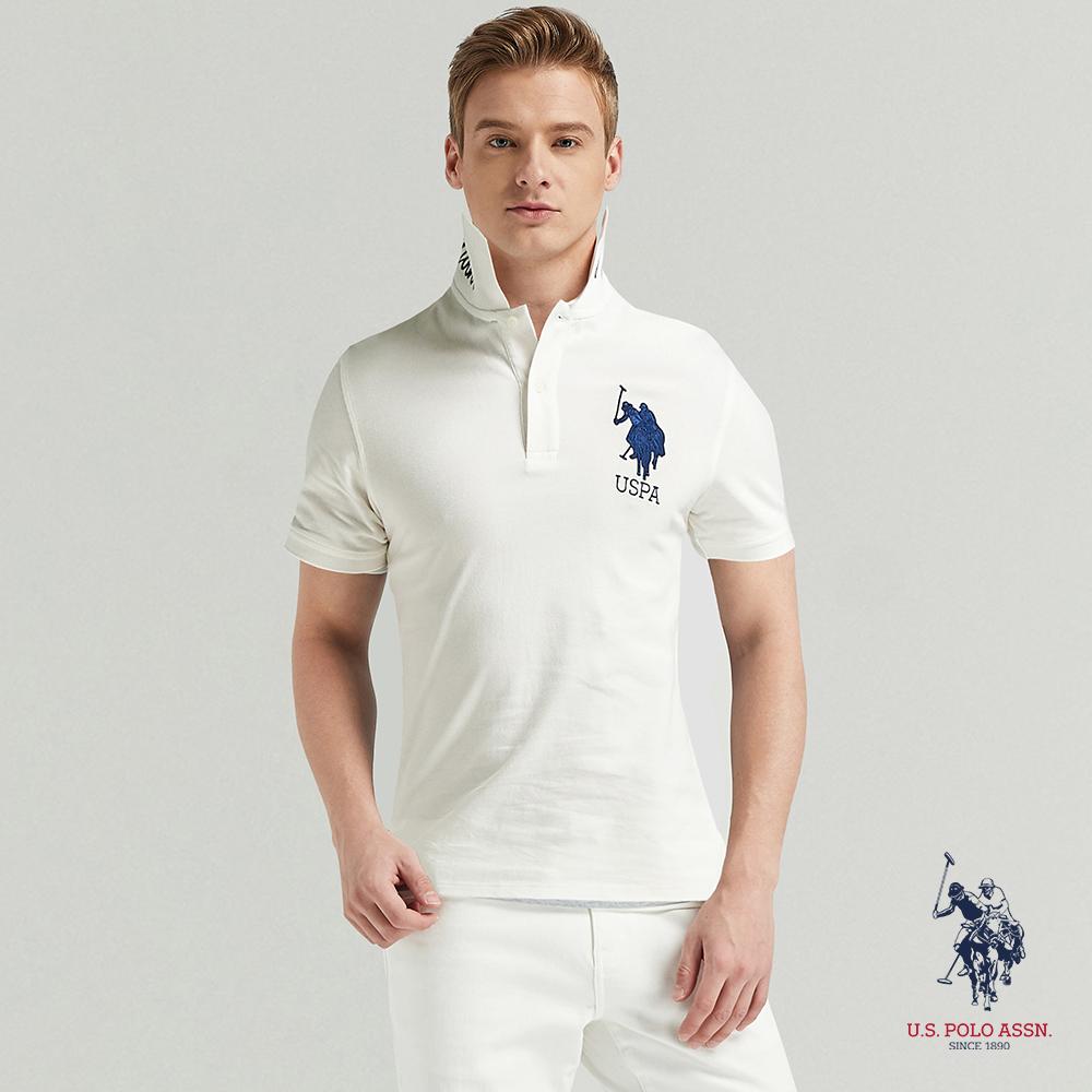 U.S. POLO ASSN. 大馬短袖POLO衫-純白色
