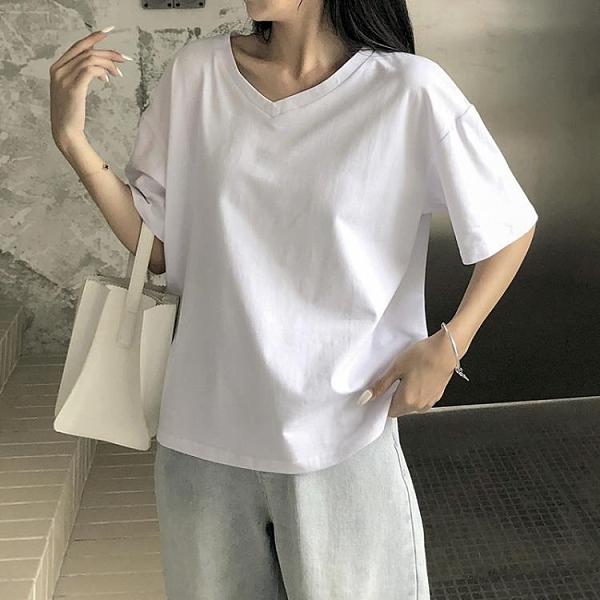 短袖T恤 純棉短袖女2021年夏新款V領寬鬆白色t恤女裝百搭上衣cec超火ins潮 寶貝 618狂歡
