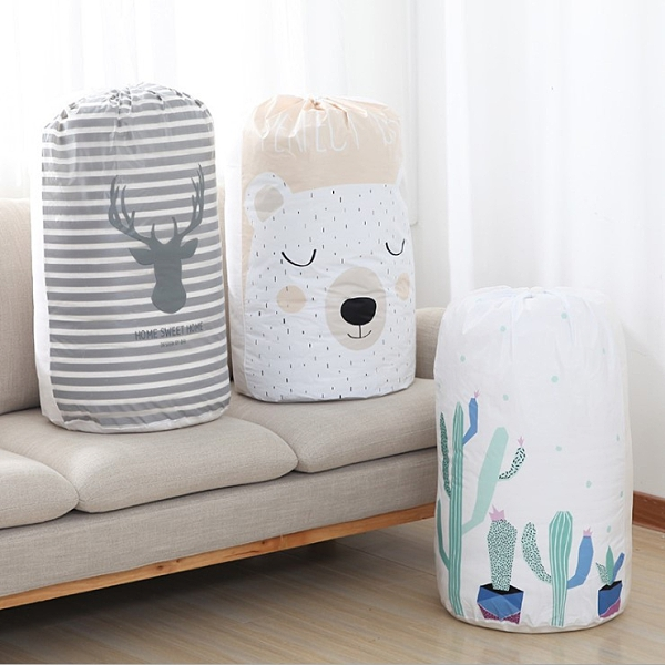 Qmishop 束口袋 棉被袋 打包袋 搬家 換季收納 被單 玩具收納 束口圓筒棉被收納袋【J513】