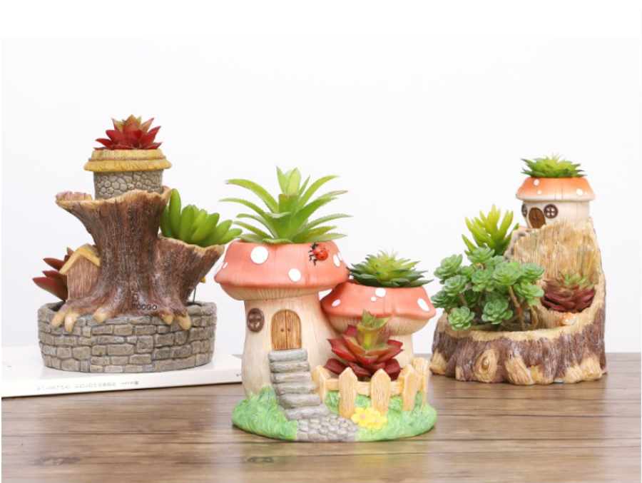 樹屋多肉花盆創意植物微景觀盆景件裝飾盆栽擺件樹脂個性組合花器