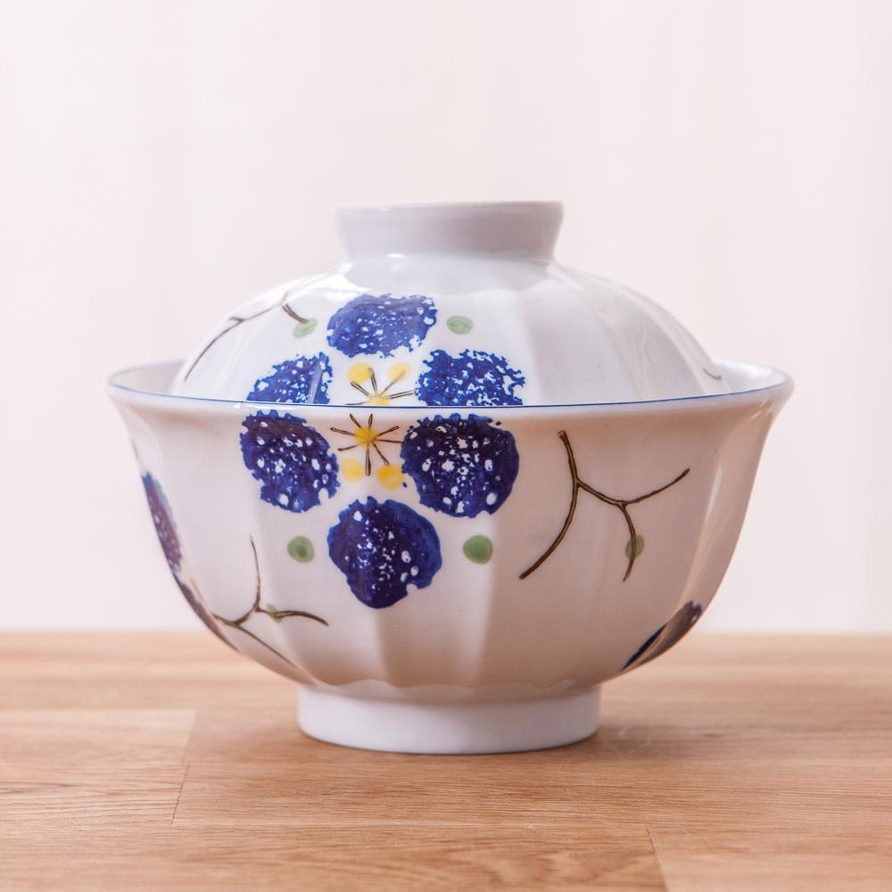 青窯手繪藍京梅附蓋麵碗14cm
