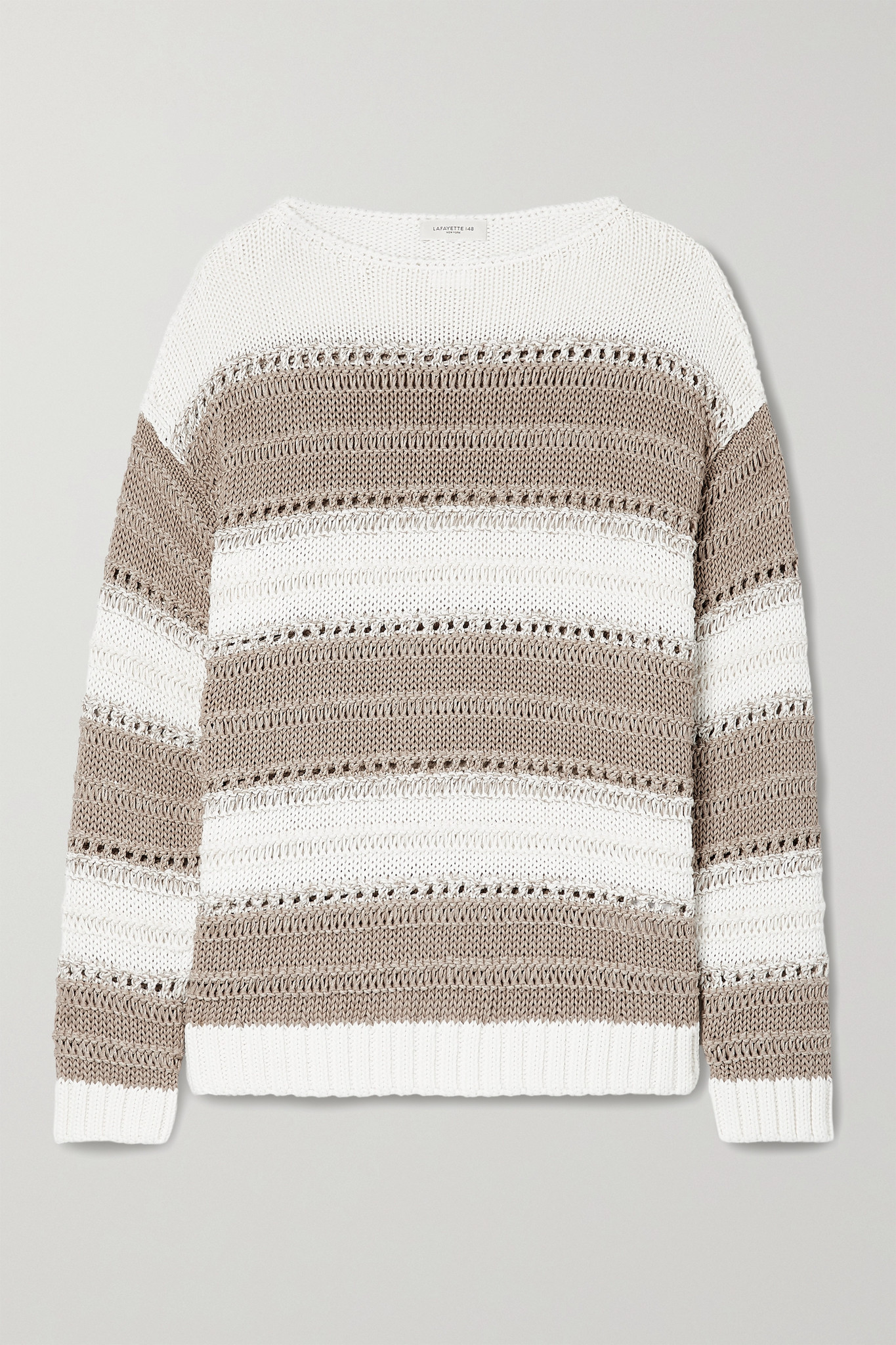 LAFAYETTE 148 - Sequin-embellished Striped Open-knit Cotton-blend Sweater - Brown - medium