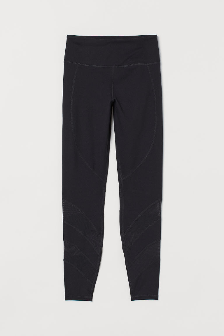 H & M - 高腰緊身運動褲 - 黑色