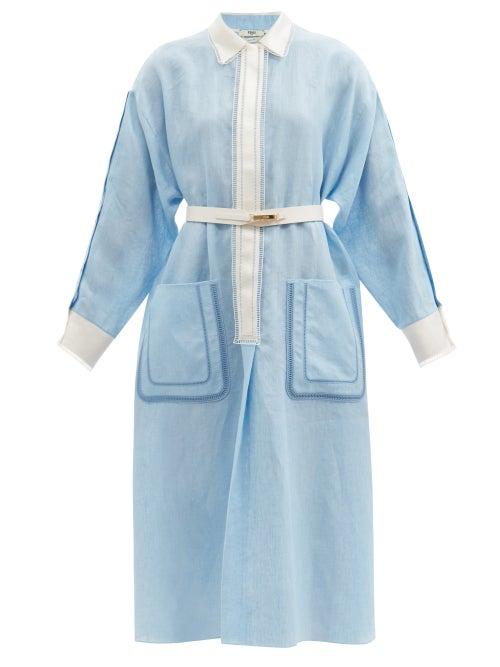 Fendi - Ladder-lace Linen Midi Dress - Womens - Blue White