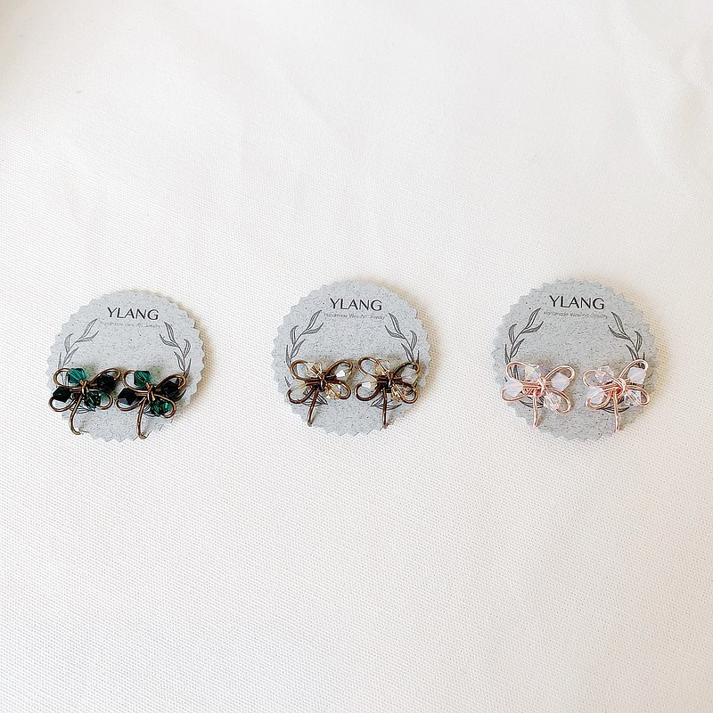 【綻放-彩框】花形水晶貼耳Swarovski/藝術銅線(一體成型無痛耳夾