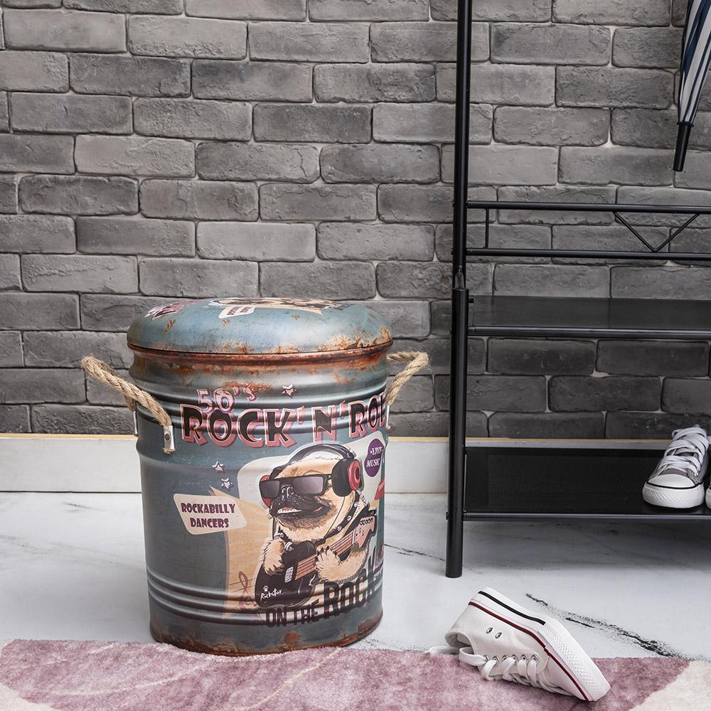 *美式風格鐵桶收納椅-搖滾巴哥