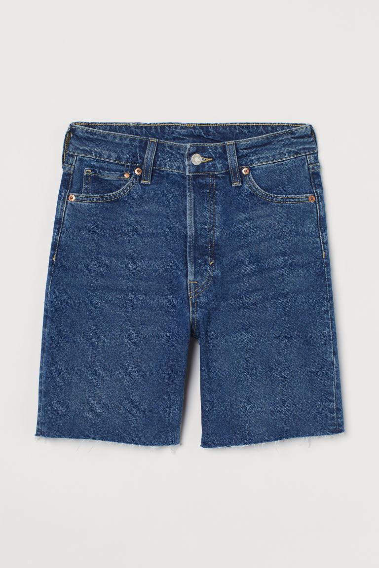 H & M - 丹寧百慕達短褲 - 藍色