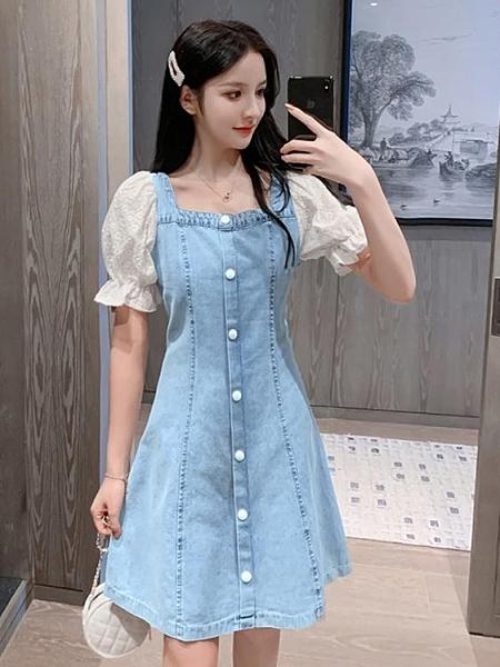 牛仔洋裝 法式復古方領泡泡袖小個子連身裙女2021新款夏季收腰顯瘦牛仔裙子 寶貝寶貝計畫 上新