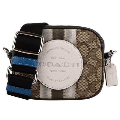 COACH大圓白皮標緹花織布斜背輕巧包(卡其X藍邊)