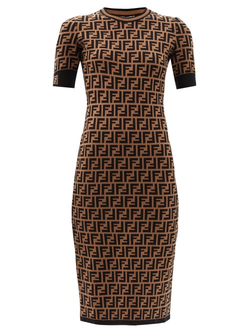 Fendi - Ff-jacquard Midi Dress - Womens - Brown