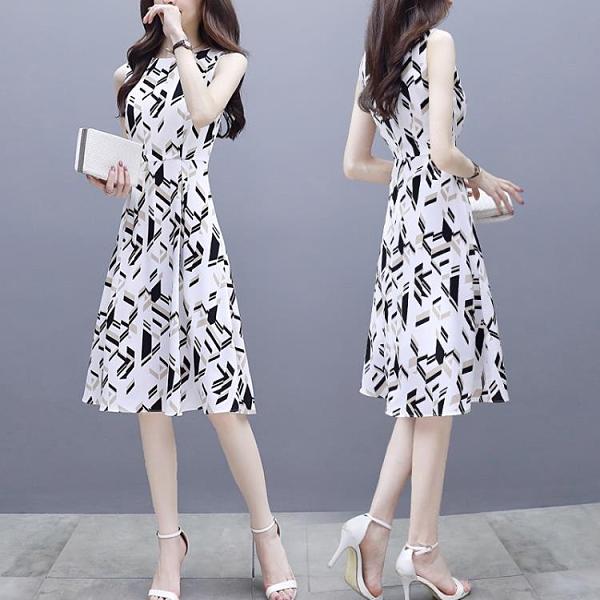 雪紡洋裝 條紋印花雪紡連身裙女夏季2021新款氣質顯瘦收腰修身無袖a字裙子 嬡孕哺