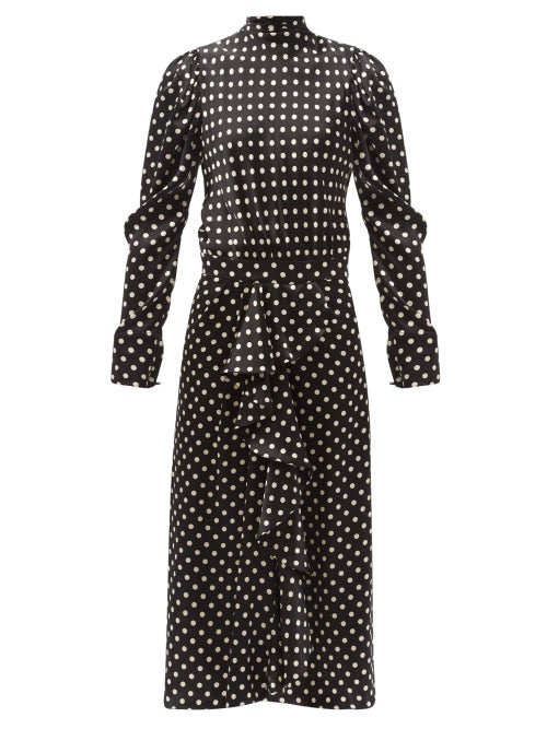 Johanna Ortiz - Silk Glaze Ruffled Polka-dot Silk Midi Dress - Womens - Black White
