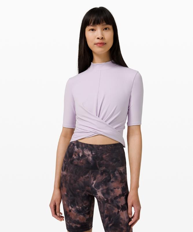 Lululemon Women's Wrap Front Mock Neck Crop Short Sleeve Online Only, Lavender Dew Size 6