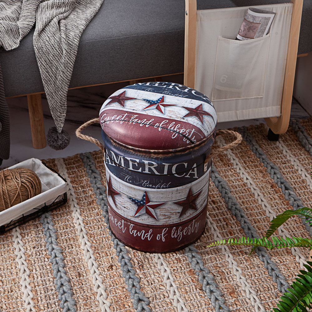 美式風格鐵桶收納椅-America