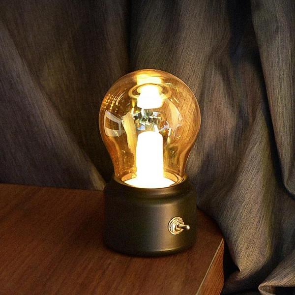 北歐復古小夜燈創意簡約臥室ins網紅氛圍裝飾床頭USB充電臺燈禮物