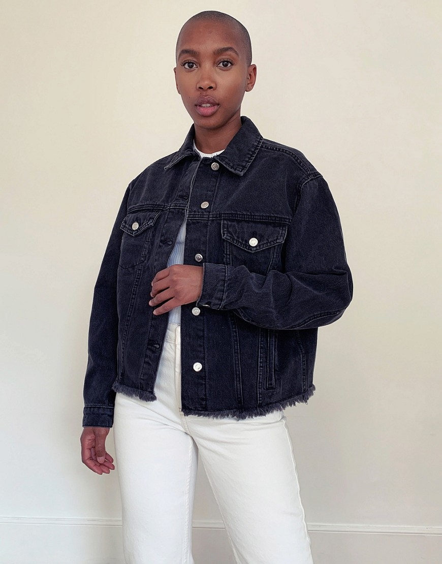 Topshop raw-hem denim jacket in washed black