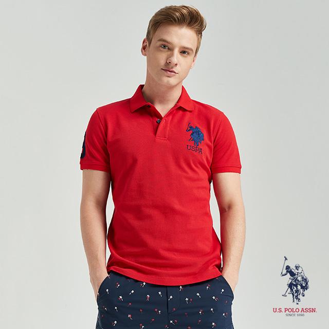 U.S. POLO ASSN. 大馬短袖POLO衫-紅色