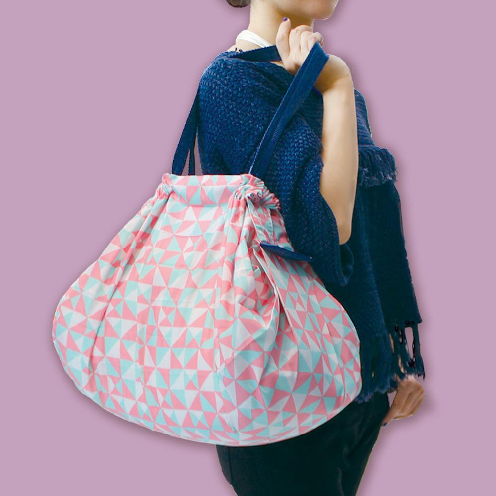 *日本SHUPATTO可折疊手提肩背兩用包S419-(L)條紋-粉