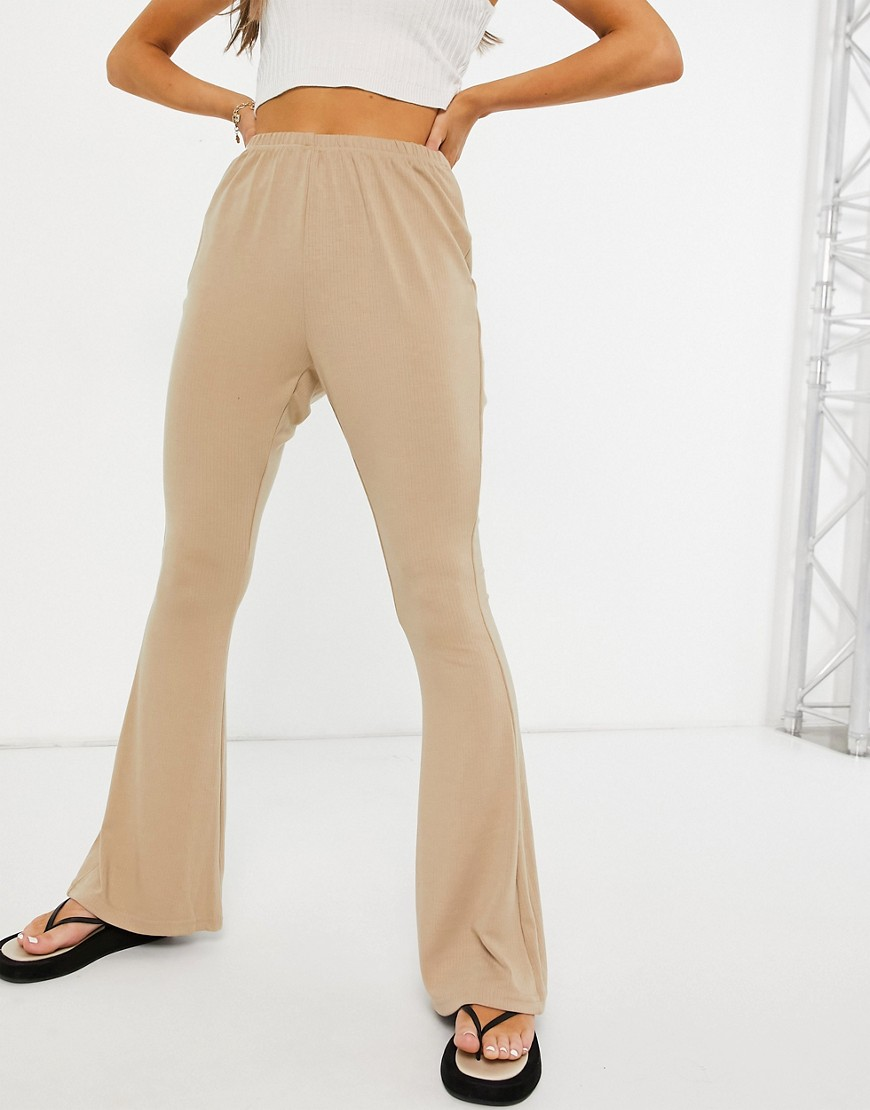 Glamorous ribbed flared trousers in stone-Neutral