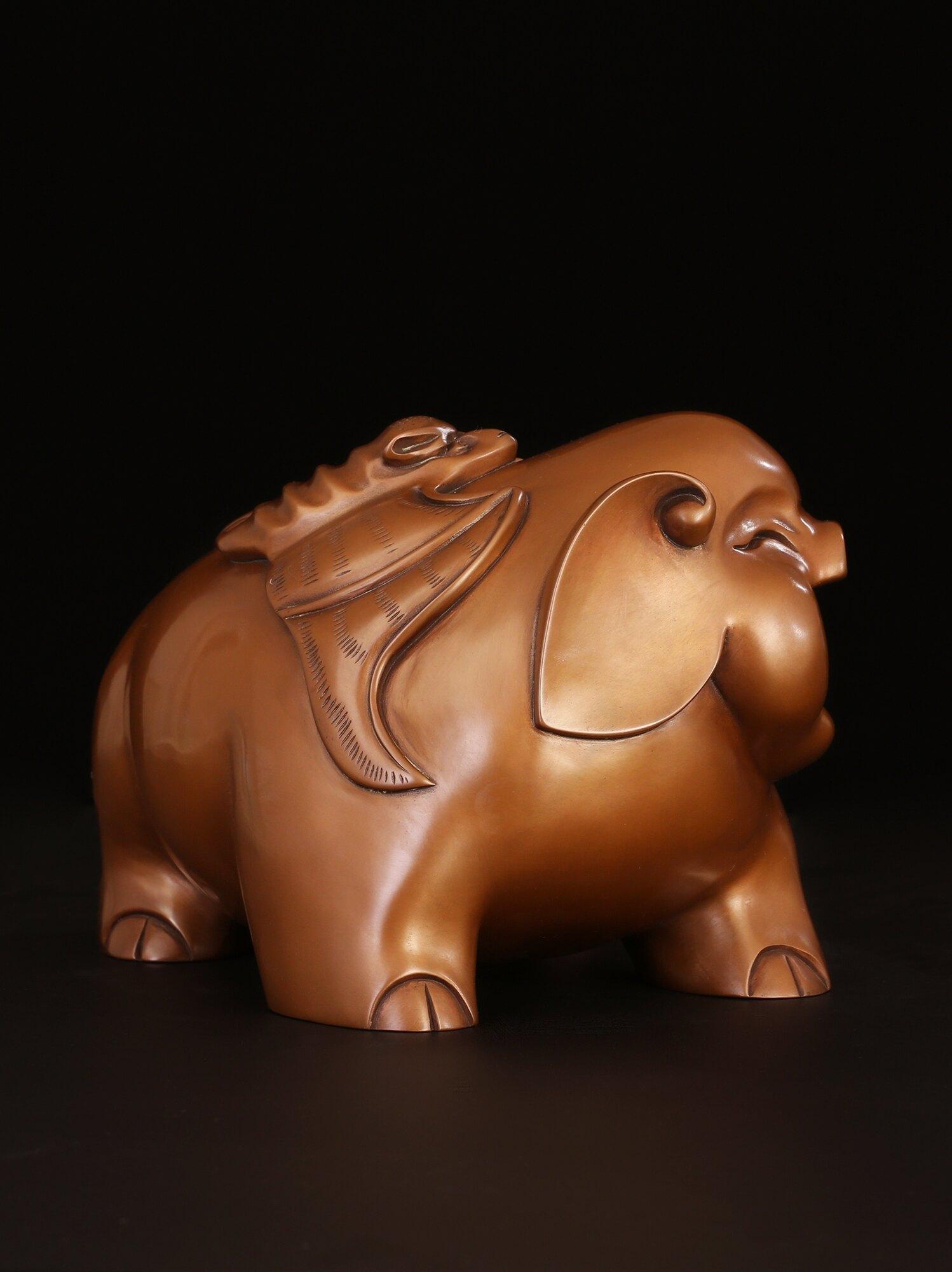 匠澤銅魂 純銅豬擺件大旺財豬辦公室客廳風水招財家居裝飾品擺設