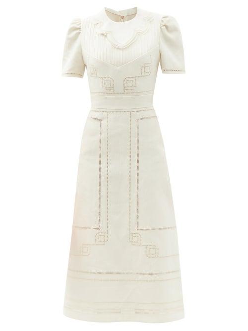 Fendi - Ladder-cutout Linen Midi Dress - Womens - Cream