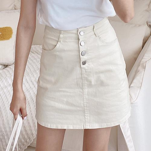彈性斜紋布排釦褲裙-JJ-Rainbow【A499065】