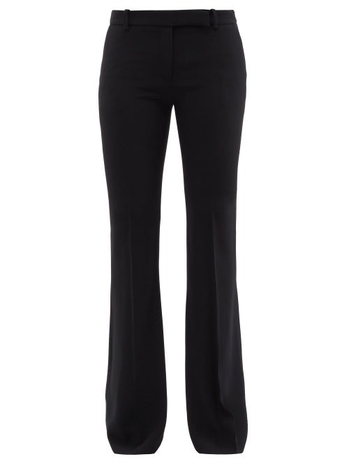 Alexander Mcqueen - Crepe Bootcut Tailored Trousers - Womens - Black