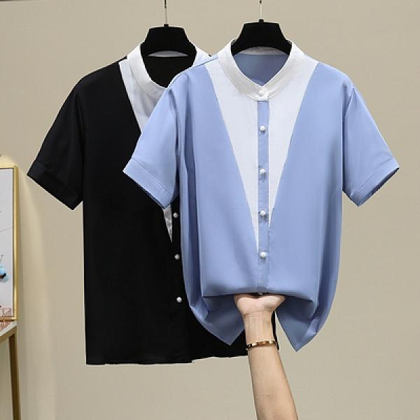 短袖襯衫 中大尺碼女裝襯衣XL-4XL2254胖mm200斤加肥寬松洋氣雪紡衫短袖襯衫開衫F5026依佳衣
