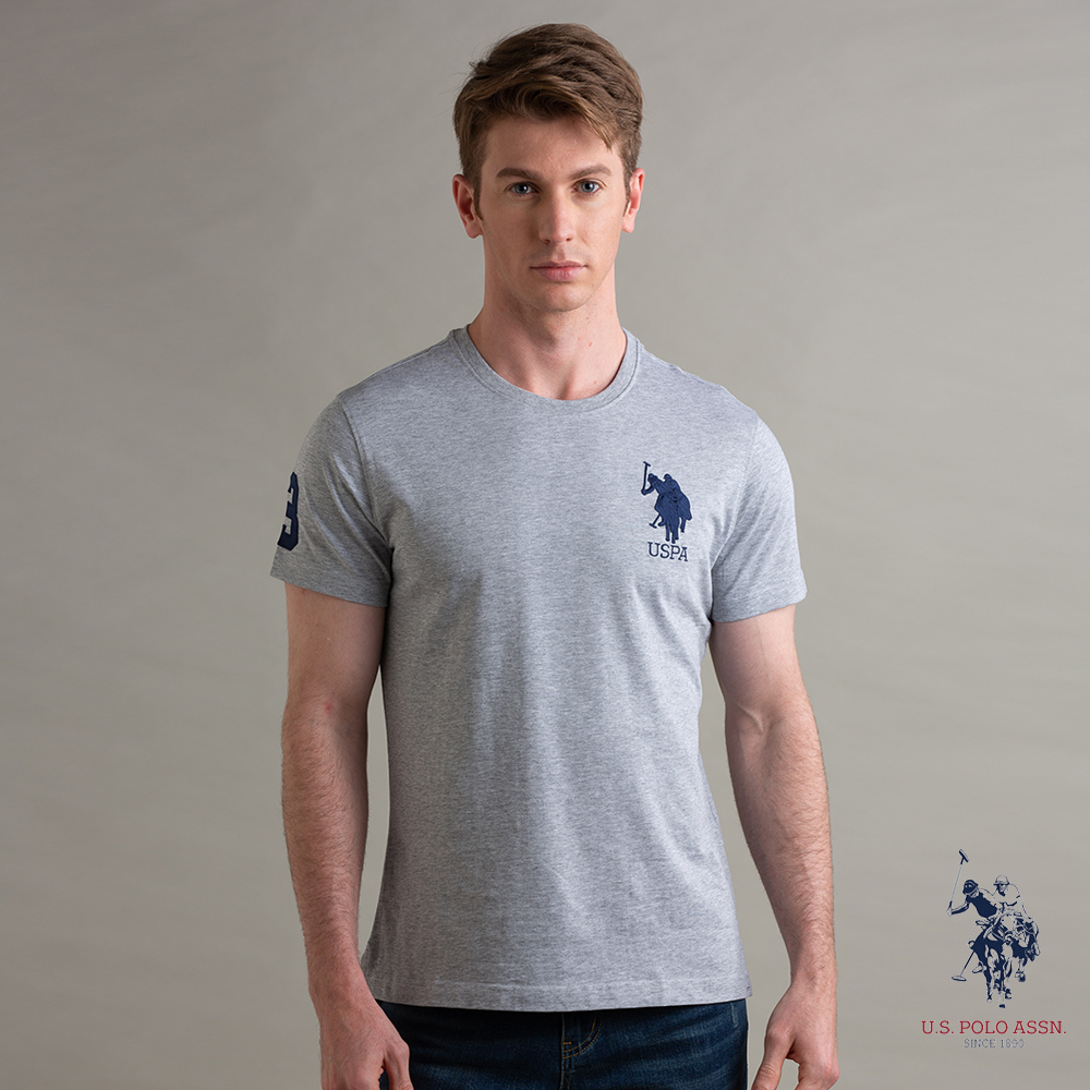U.S. POLO ASSN. 大馬LOGO T恤-灰色