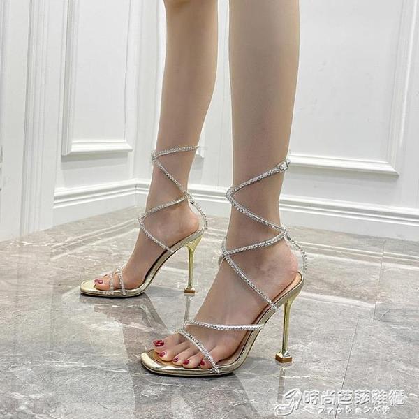 一字扣帶時裝水鑚交叉綁帶羅馬涼鞋2021新款方頭性感細跟高跟鞋女 時尚芭莎