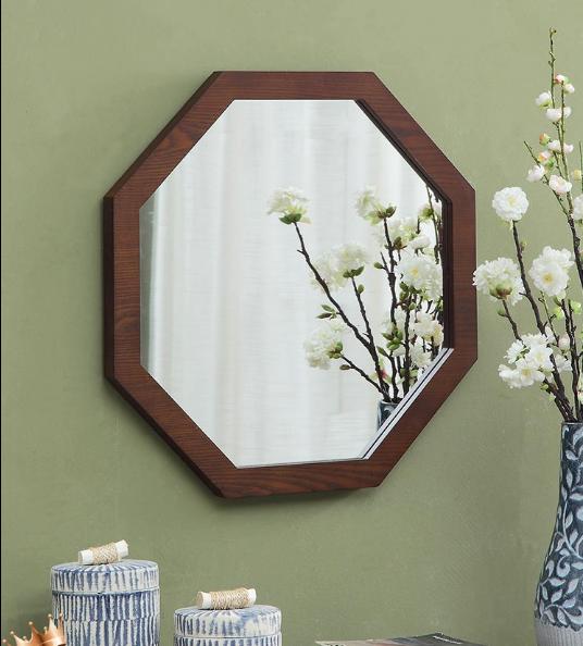 60cm 鏡子 浴室鏡 八角鏡 圓鏡 壁掛鏡北歐簡約木質邊框壁掛異形化妝浴室八角鏡試衣創意梳妝臺鏡子
