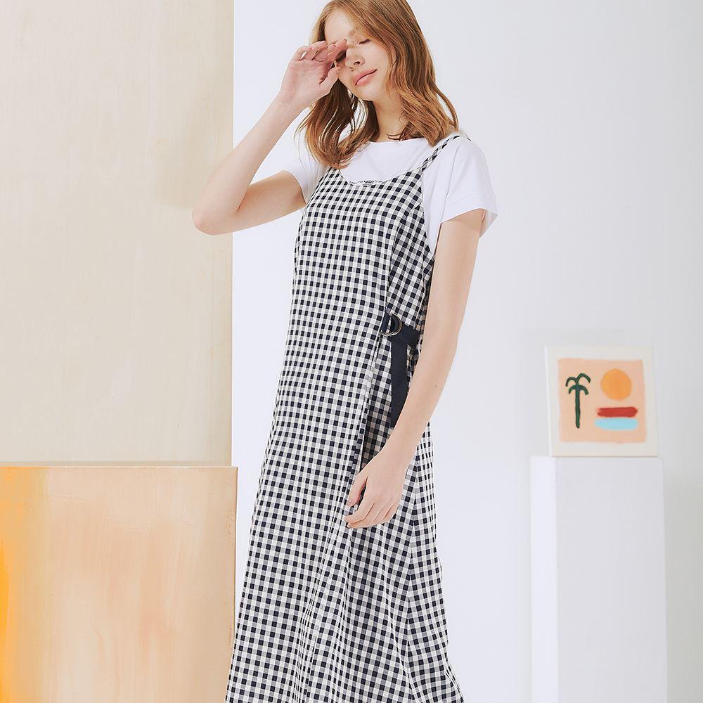 OUWEY歐薇 百搭嘉頓格紋設計剪裁吊帶洋裝(深藍)3212087235