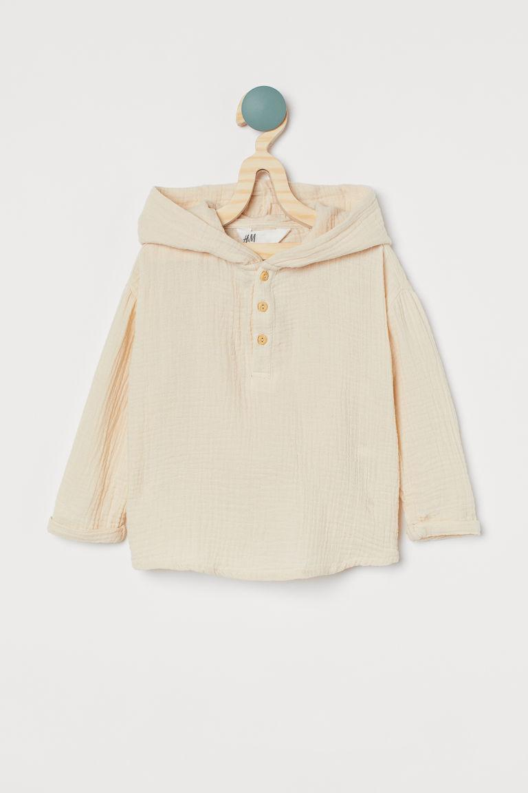 H & M - 亨利式連帽上衣 - 米黃色