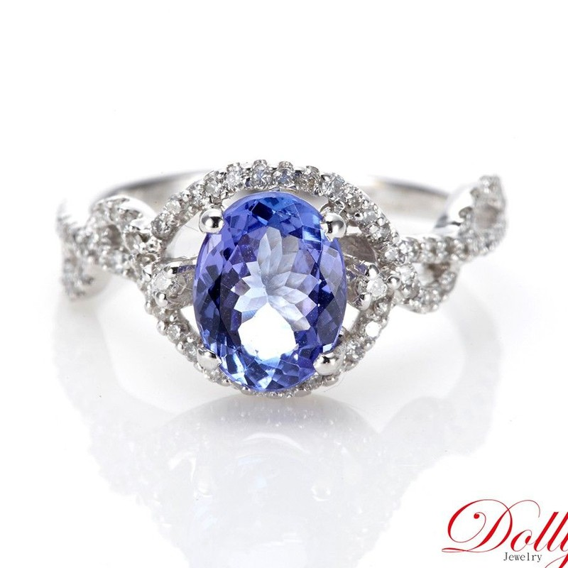 Dolly 天然 丹泉石1克拉 14K金鑽石戒指(003)